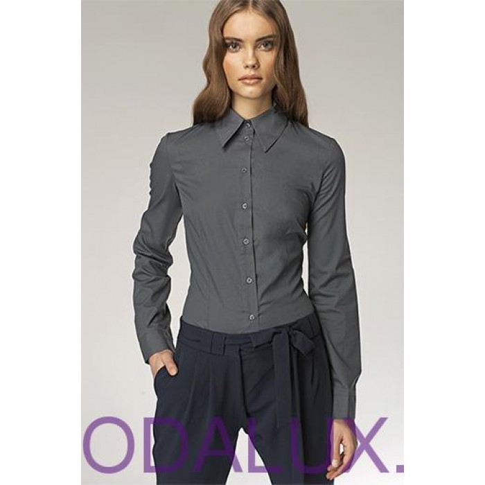 9f63c5e677a2 Klasická šedá košeľa II k21v 42