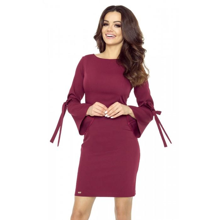 b87d53cd1f67 Bordové púzdrové šaty so zvonovým rukávom OLGA 70-10 M