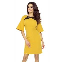 Klasické žlté šaty so zvonovým rukávom a čipkou LISA 71-10 M