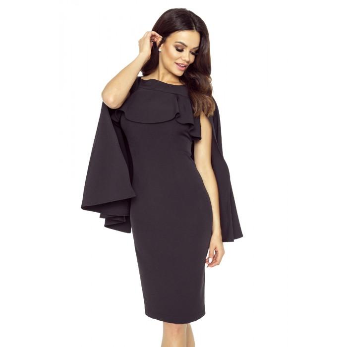 3ca918058411 Čierne púzdrové šaty s volánom a pelerínou ESME 94-05 S