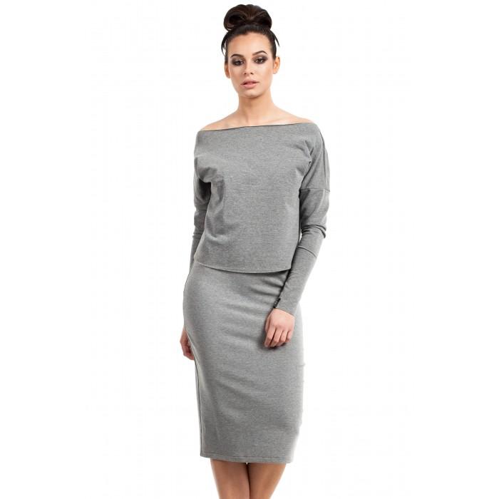 b260e1011a69 Šedé púzdrové úpletové šaty CAMI B001