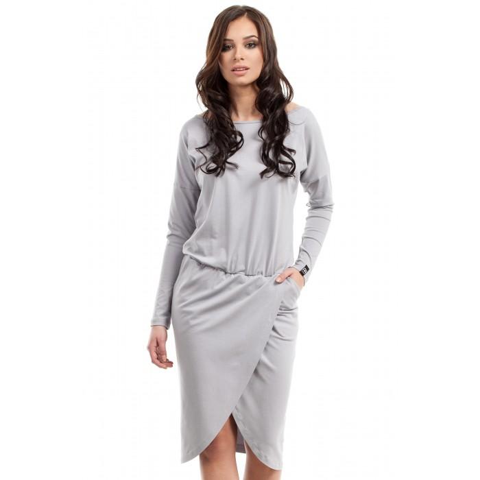 Sivé úpletové šaty s prekladanou sukňou B003 98253e4649f