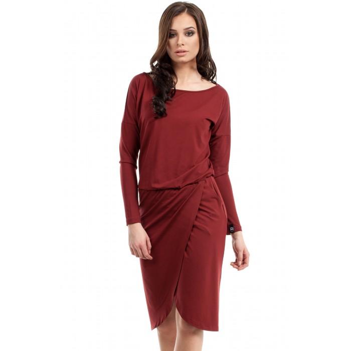 Bordové úpletové šaty s prekladanou sukňou B003 da2f01b7c3c