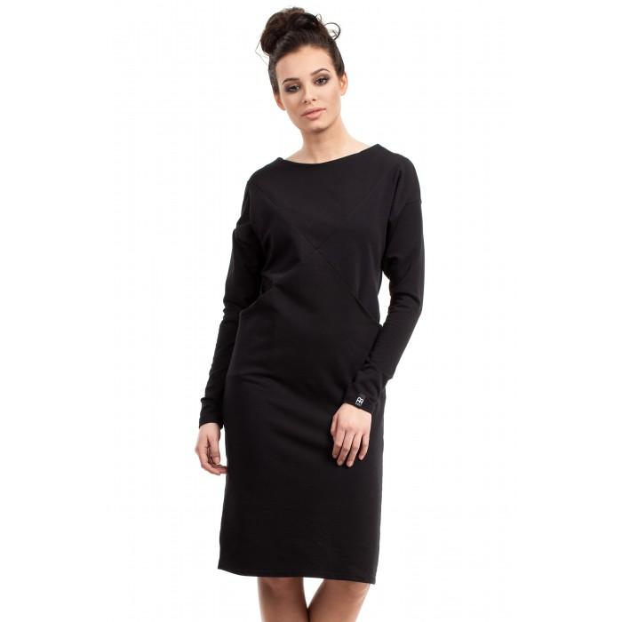 1b762240b42c Jednoduché čierne púzdrové šaty s dlhým rukávom B006