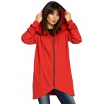 Štýlový červené kardigan so zipsom a kapucňou B054