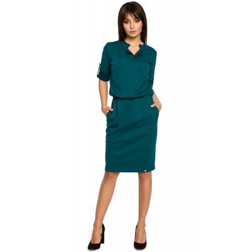 Zelené úpletové MIDI šaty košeľového strihu B056