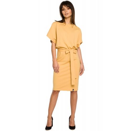 Žlté úpletové KIMONOI šaty s opaskom B058