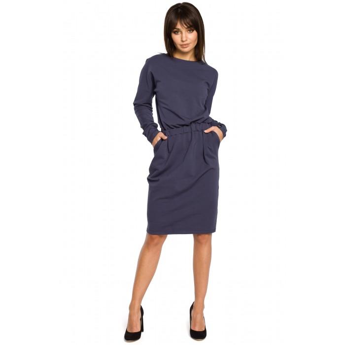 Tmavomodré úpletové šaty s dlhým rukávom a elastickým pásom B060 00e0e78024f
