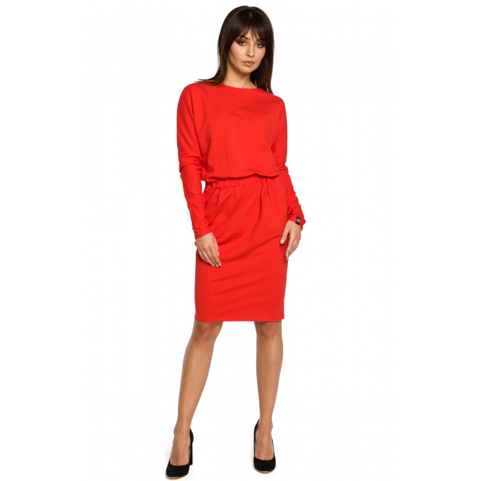 0e22fc38f740 Červené úpletové šaty s dlhým rukávom a elastickým pásom B060