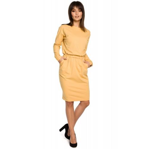 Žlté úpletové šaty s dlhým rukávom a elastickým pásom B060