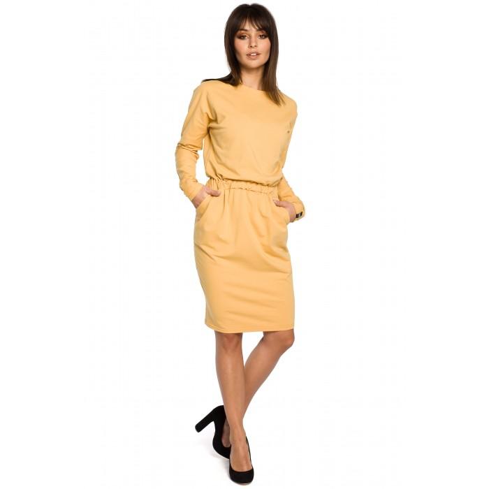 Žlté úpletové šaty s dlhým rukávom a elastickým pásom B060 817ab97374d