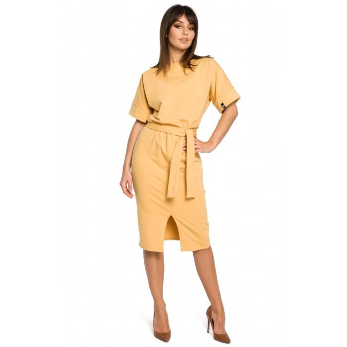 c14d0b42e Žlté úpletové MIDI šaty s predným rázporkom B062