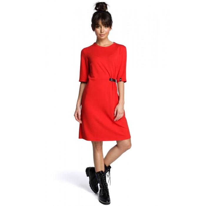 6647855b070e4 Červené úpletové šaty s prackou B066