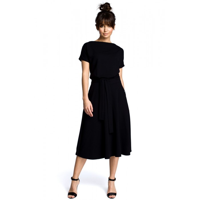 Čierne rozšírené letné šaty v MIDI dĺžke B067 f17a426bf1c