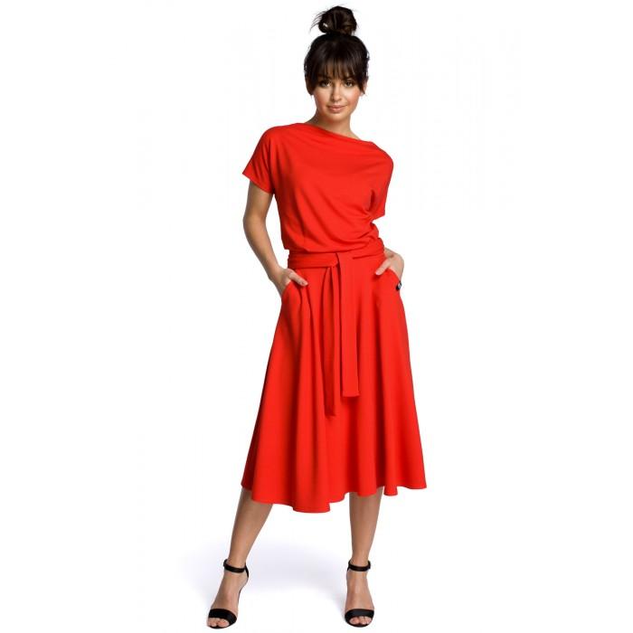 Červené rozšírené letné šaty v MIDI dĺžke B067 2ee77fec934
