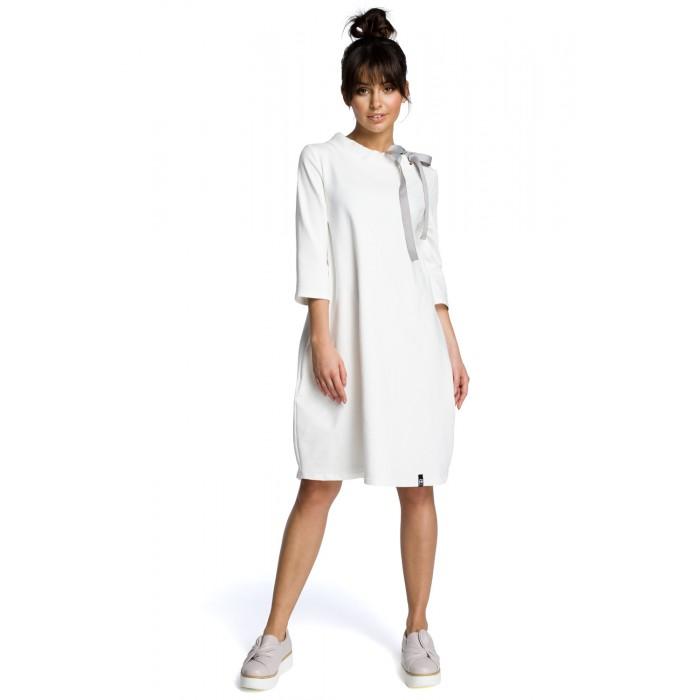 d5246cddac0c Biele oversize šaty s 7 8 rukávom a stojáčikom B070