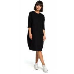 Čierne oversize šaty s 7/8 rukávom a vreckom B083