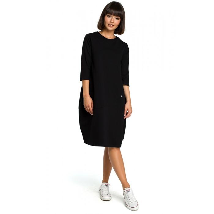 f4dcbbd534593 Čierne oversize šaty s 7/8 rukávom a vreckom B083