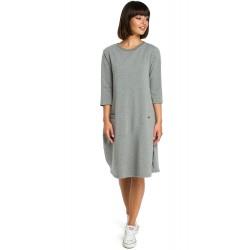 Šedé oversize šaty s 7/8 rukávom a vreckom B083