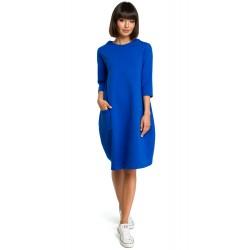 Kráľovsky modré oversize šaty s 7/8 rukávom a vreckom B083