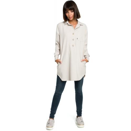 Béžová košeľová tunika s dlhým rukávom B086