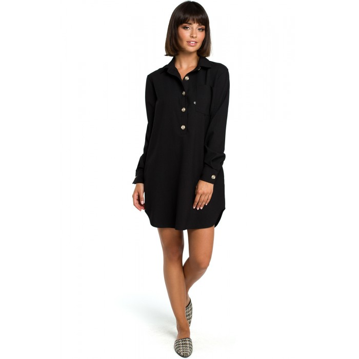 728bae4e6960 Čierna košeľová tunika s dlhým rukávom B086