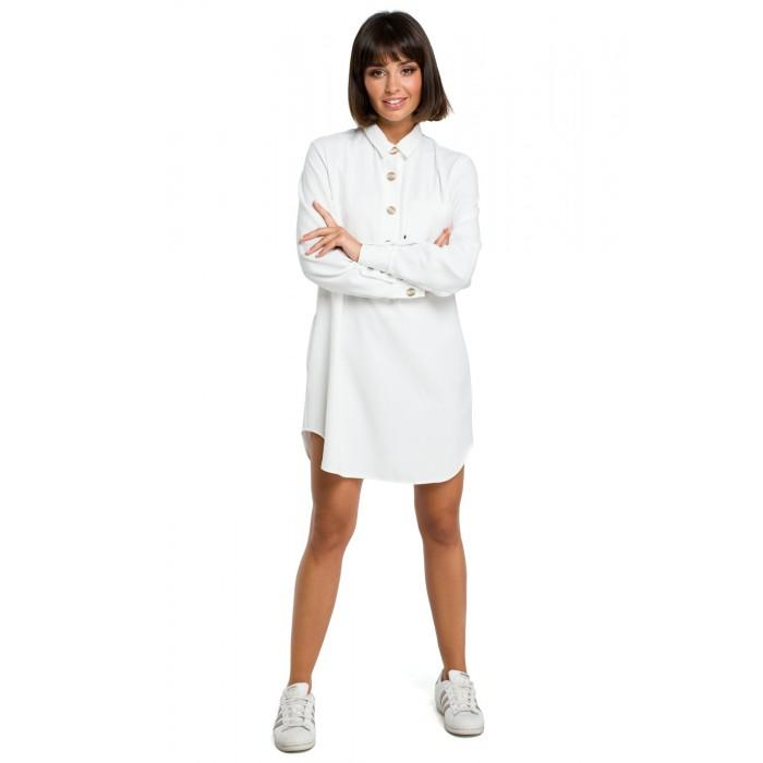 8462b5afb875 Biela košeľová tunika s dlhým rukávom B086