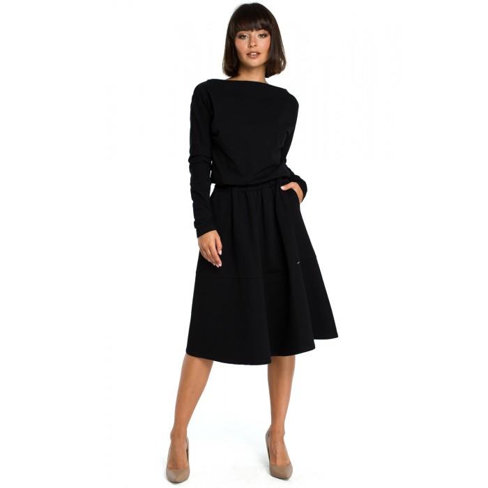 94b37e477686 Čierne rozšírené áčkové šaty s dlhým rukávom B087