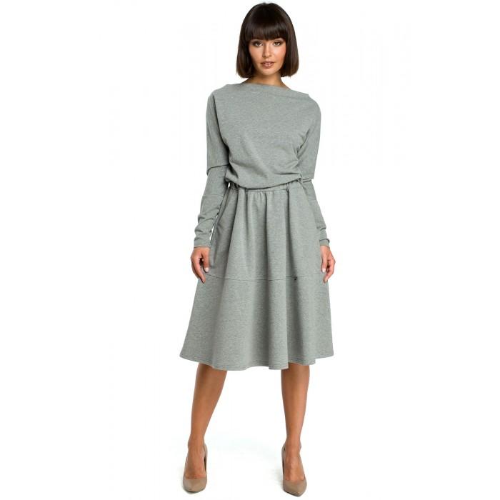 93ce91dade Šedé rozšírené áčkové šaty s dlhým rukávom B087