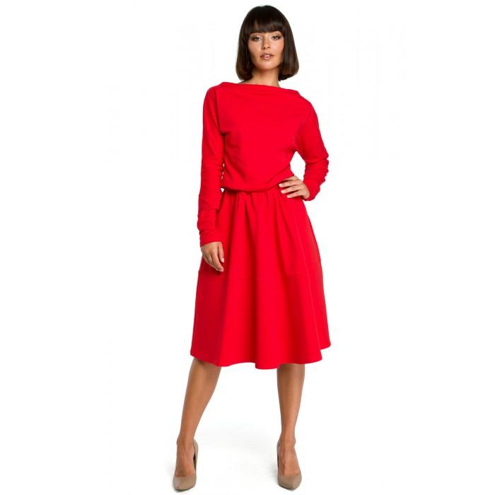Červené rozšírené áčkové šaty s dlhým rukávom B087 38a04613506