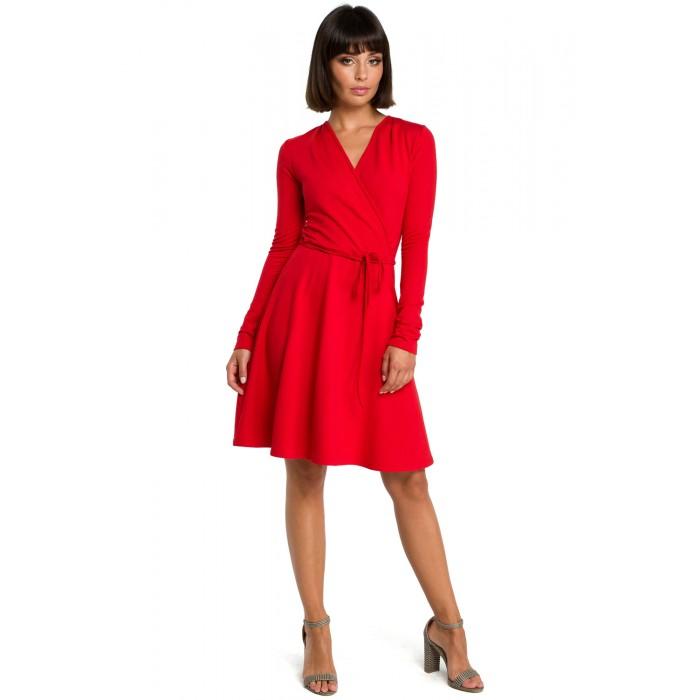 Červené rozšírené zavinovacie šaty v Alínii B092 f6114b0c1a2