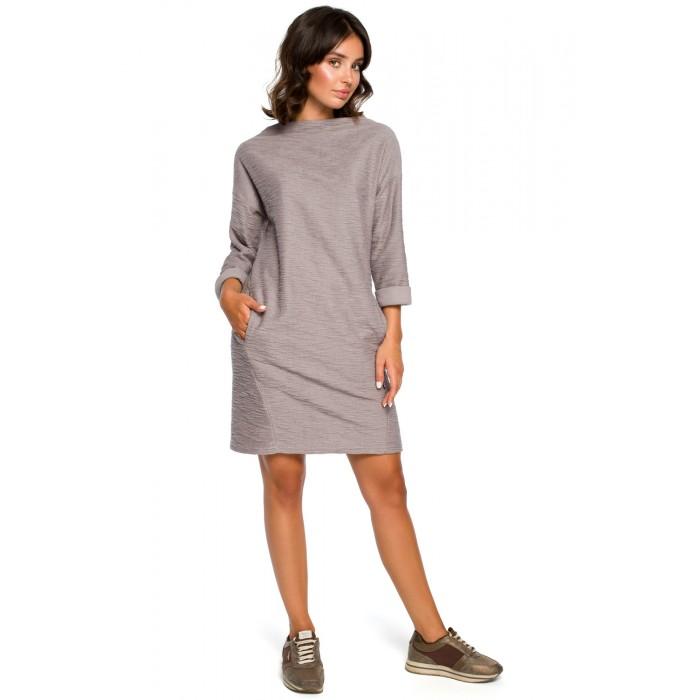 Sivé úpletové šaty s prednými vreckami B096 1106fefd37c