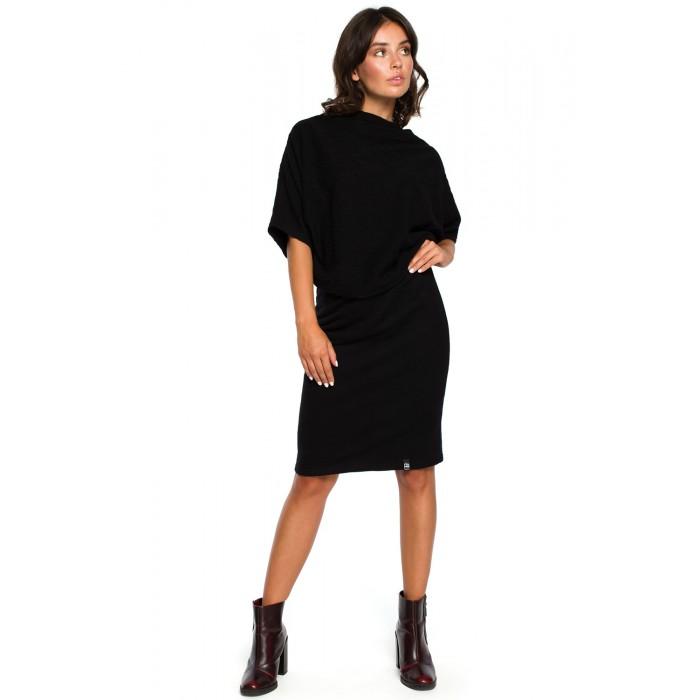 de037aa2c74b Čierne úpletové šaty s voľným topom a úzkou sukňou B097