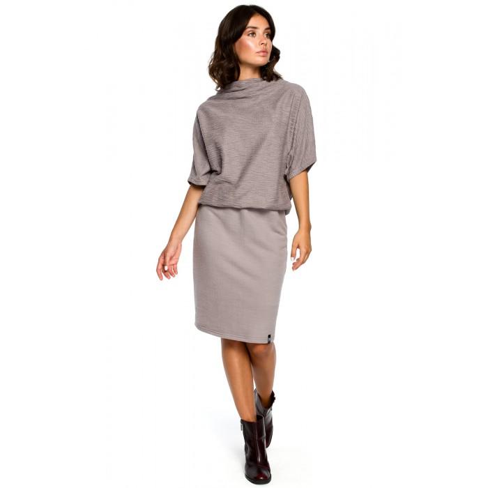 Šedé úpletové šaty s voľným topom a úzkou sukňou B097 f4710a8613b