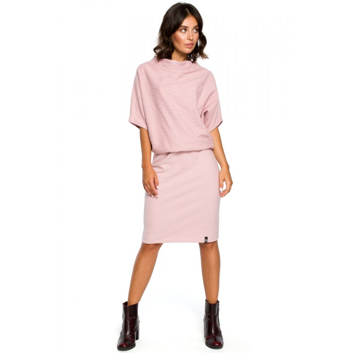 0d00c76de679 Pudrovo ružové úpletové šaty s voľným topom a úzkou sukňou B097