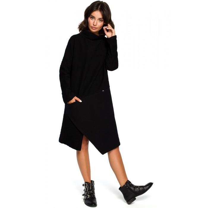 7df888bd52c3 Čierne úpletové asymetrické šatylu B098