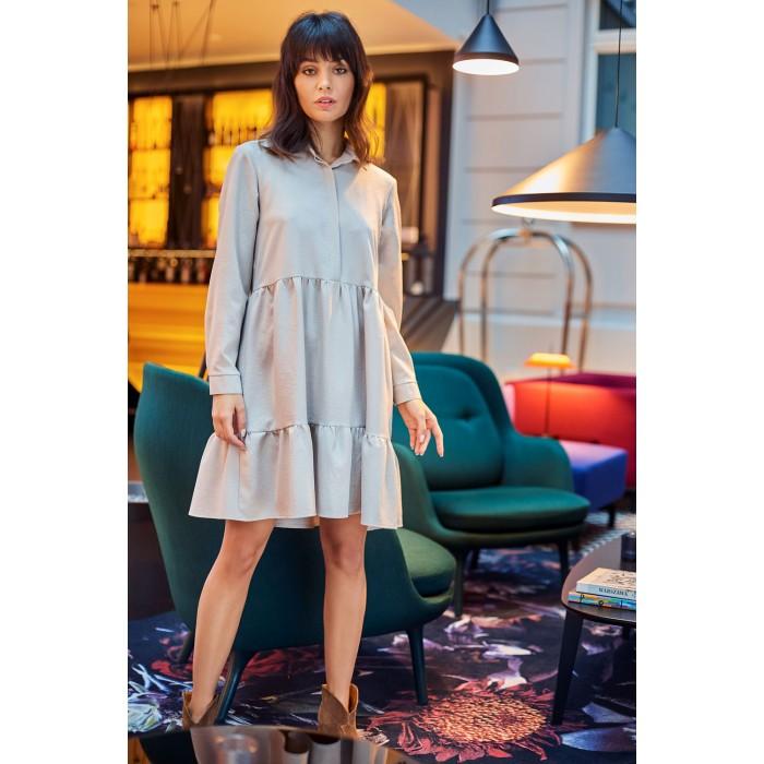 5e729a0602d3 Béžové košeľové šaty s volánmi a dlhým rukávom B110