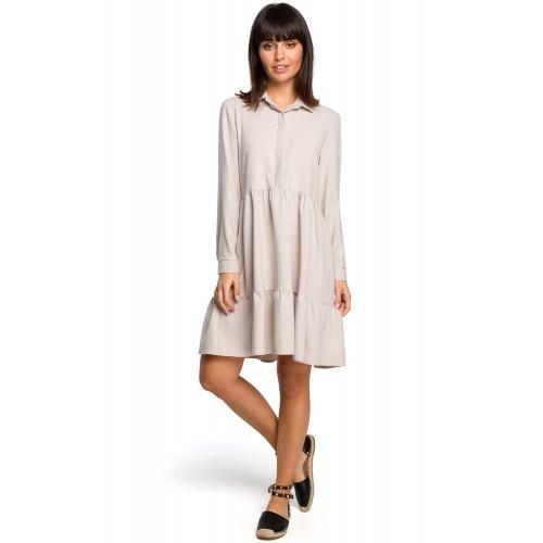 Béžové košeľové šaty s volánmi a dlhým rukávom B110