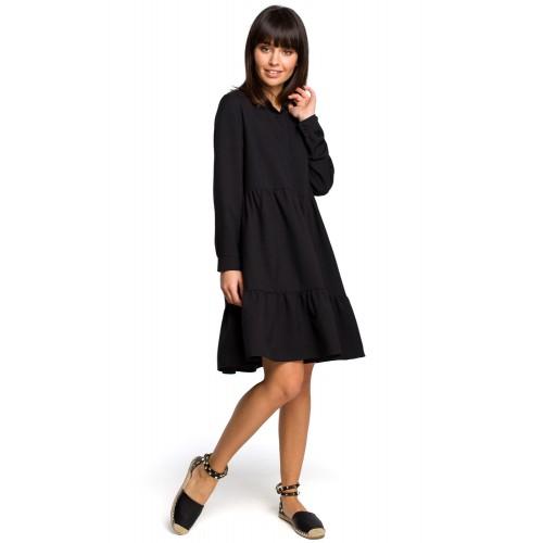 Čierne košeľové šaty s volánmi a dlhým rukávom B110