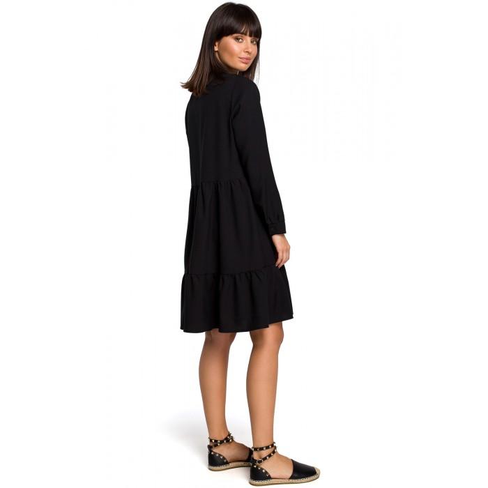f02847d71e1d Čierne košeľové šaty s volánmi a dlhým rukávom B110