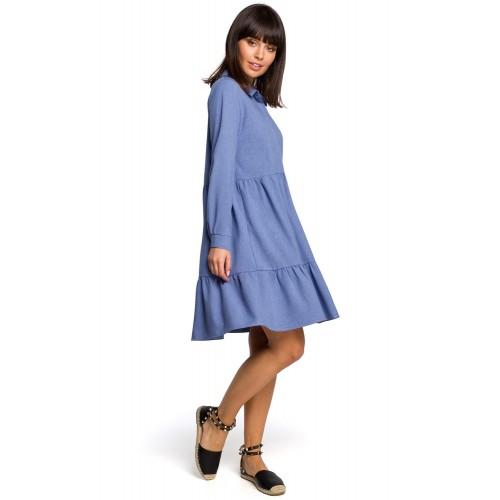 Modré košeľové šaty s volánmi a dlhým rukávom B110