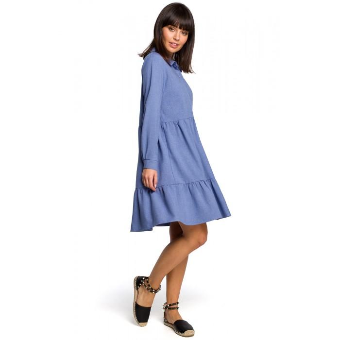 0dd98b965695 Modré košeľové šaty s volánmi a dlhým rukávom B110
