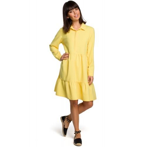 Žlté košeľové šaty s volánmi a dlhým rukávom B110