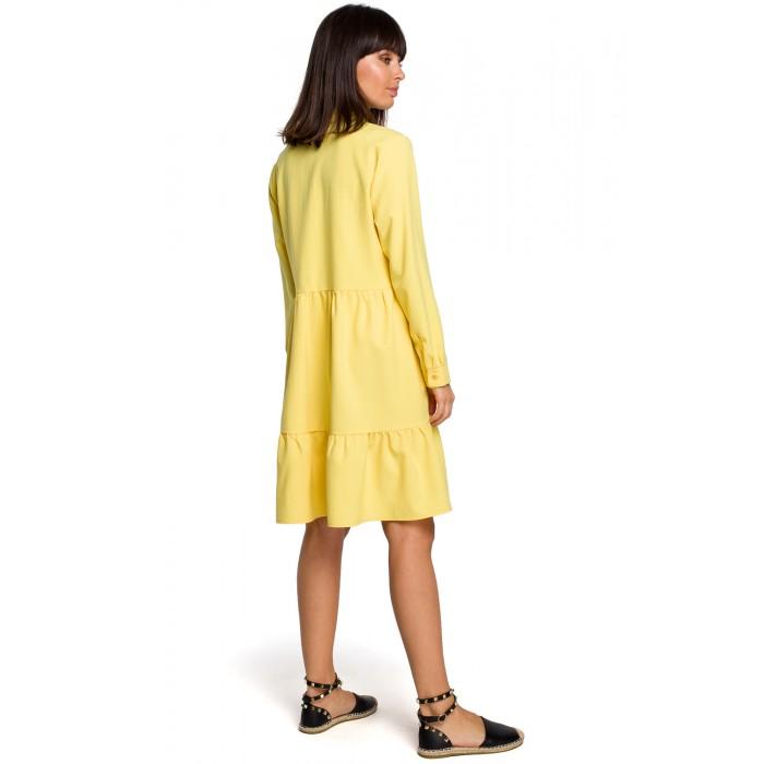 e32b3f742c0d Žlté košeľové šaty s volánmi a dlhým rukávom B110