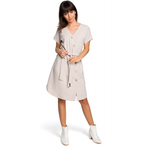 Béžové asymetrické košeľové šaty s drevenými gombíkmi B111