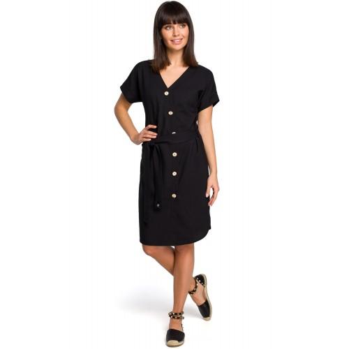 Čierne asymetrické košeľové šaty s drevenými gombíkmi B111
