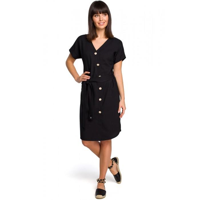 6dad3d5090b9 Čierne asymetrické košeľové šaty s drevenými gombíkmi B111
