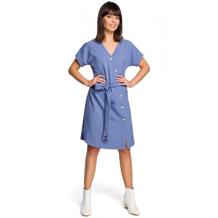 b2f462e90112 Modré asymetrické košeľové šaty s drevenými gombíkmi B111