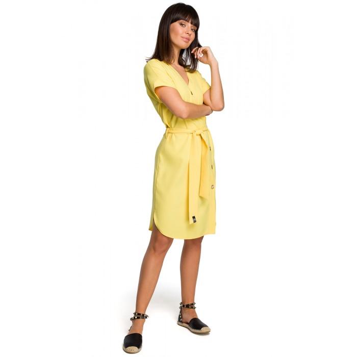 34ddff75d176 Žlté asymetrické košeľové šaty s drevenými gombíkmi B111