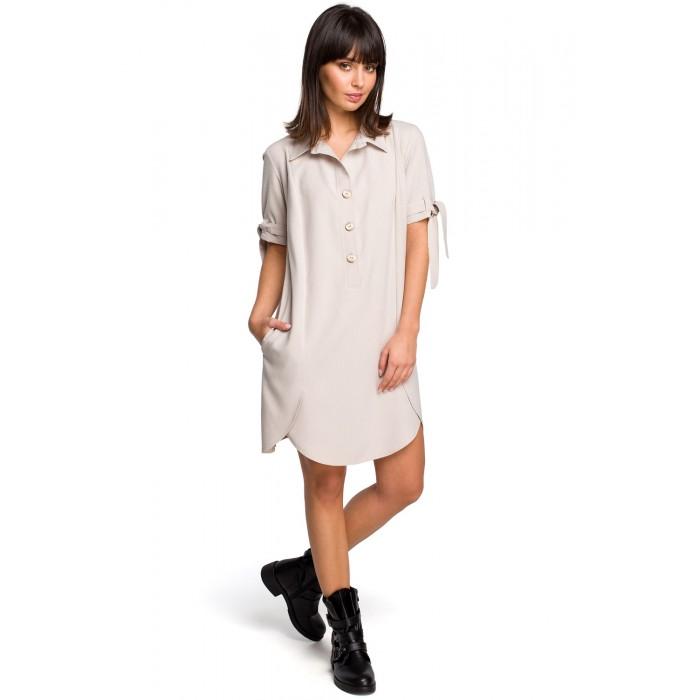 f2986163f6 Béžové košeľové šaty s krátkym rukávom a troma drevenými gombíkmi B112